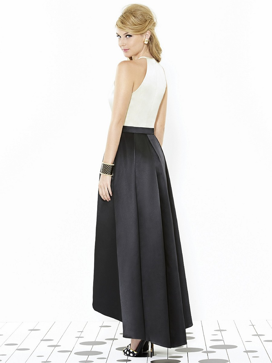 after six 6718 high low skirt side pockets a line