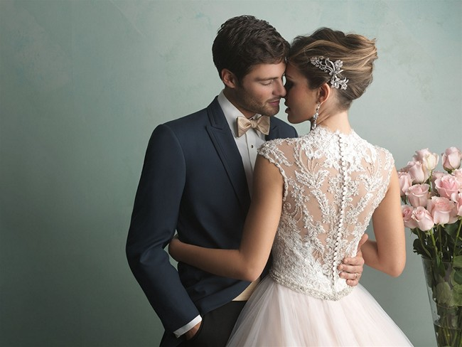 Allure 9162 V-Neck Ball Gown Illusion Back Embroidered