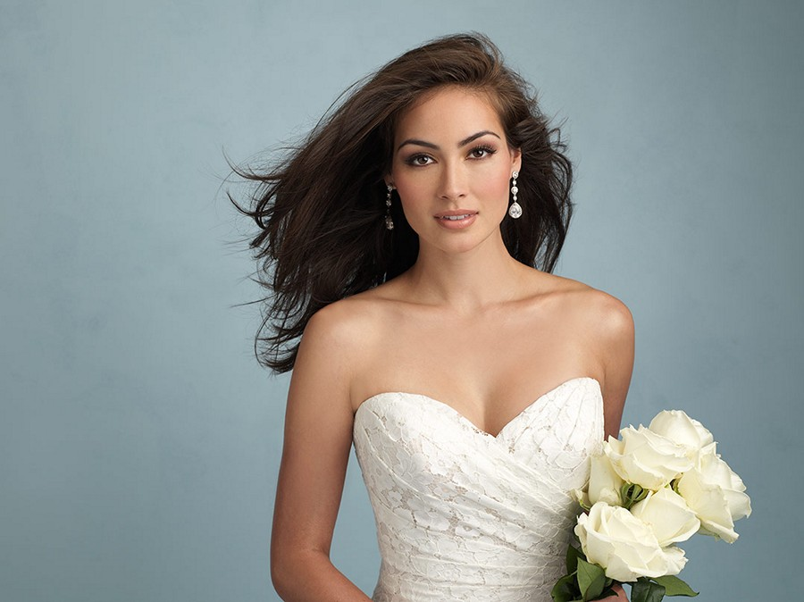 Allure 9210 Lace Strapless Ruched Surplice Bodice Trumpet