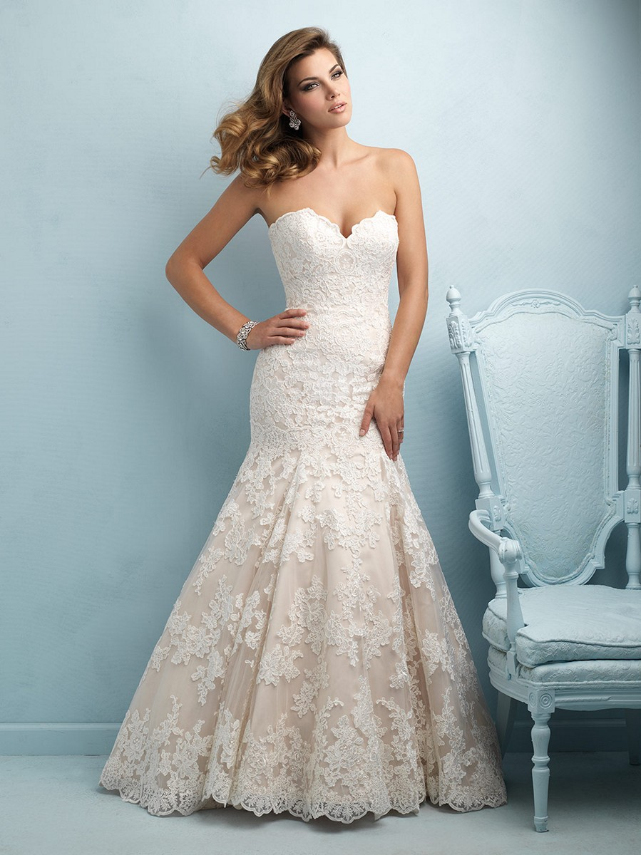 Allure 9215 lace strapless sweetheart bust fit and flare for Mermaid fit wedding dresses