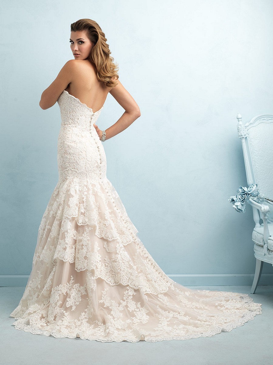 Allure 9215 Lace Strapless Sweetheart Bust Fit And Flare