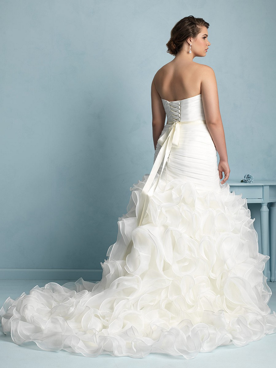 Allure Bridals W353 Lace Up Back Pleated Bodice Trumpet