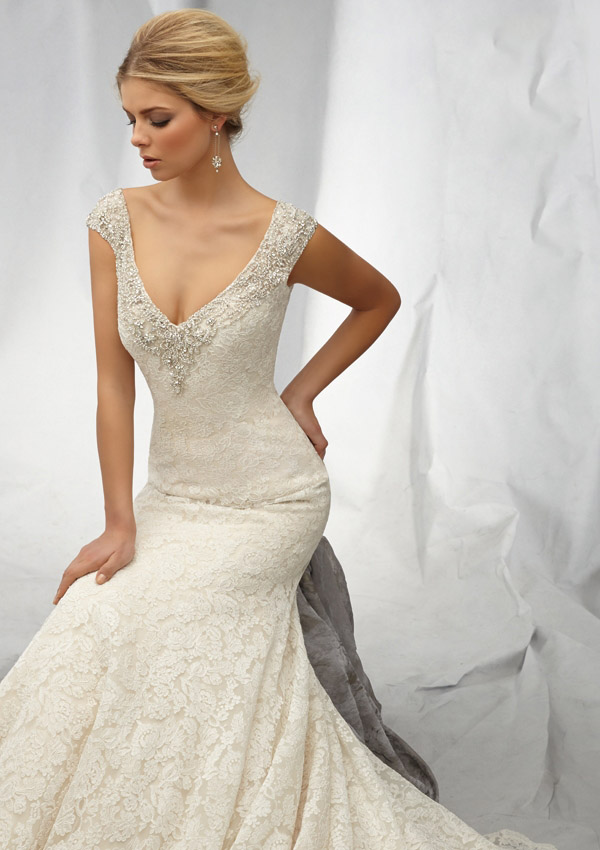 Angelina Faccenda 1308 Wedding Dress Lace V Neck Scoop