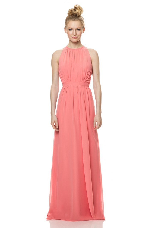 Bari jay 1471 jewel neckline pleated dress gathered waist for Jewel neckline wedding dress