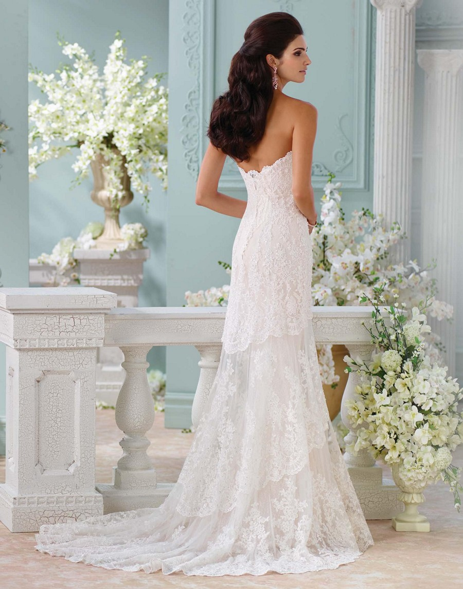 David tutera 116212 eliana lace tiered skirt wedding dress for Lace wedding dress davids bridal