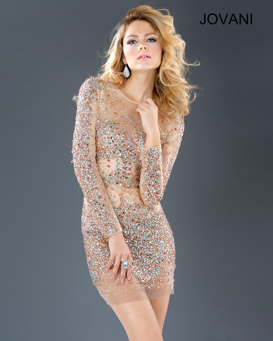 Jovani 7757 Sheer Mesh Crystal Beaded Crew Neckline