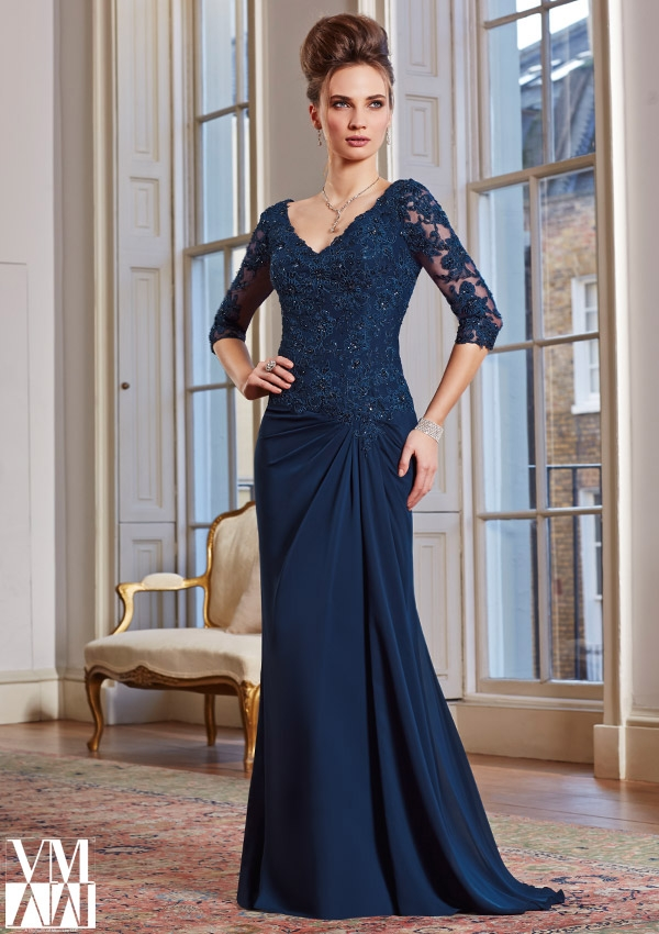 Mori Lee VM 71020 V-Neck with Lace Sleeves Dress