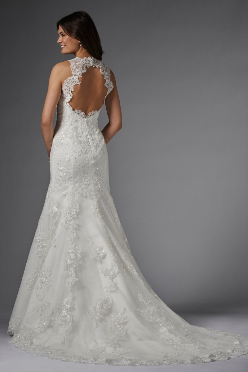WTOO Carla 15176 Wedding Dress Halter Straps Beaded Lace Keyhole Back Madam