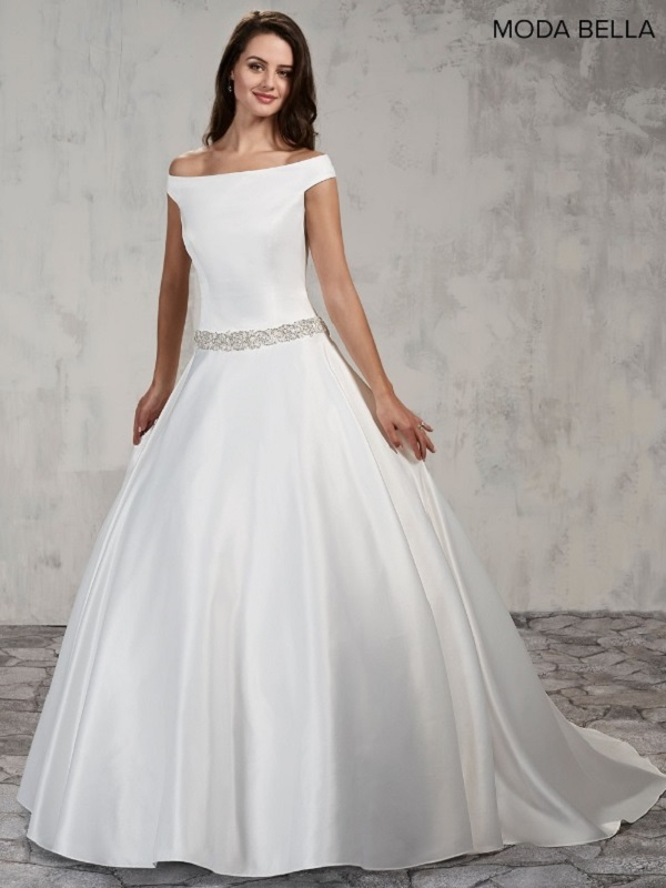 Off The Shoulder Ball Gown By Mary S Bridal Simple Satin Ballgown