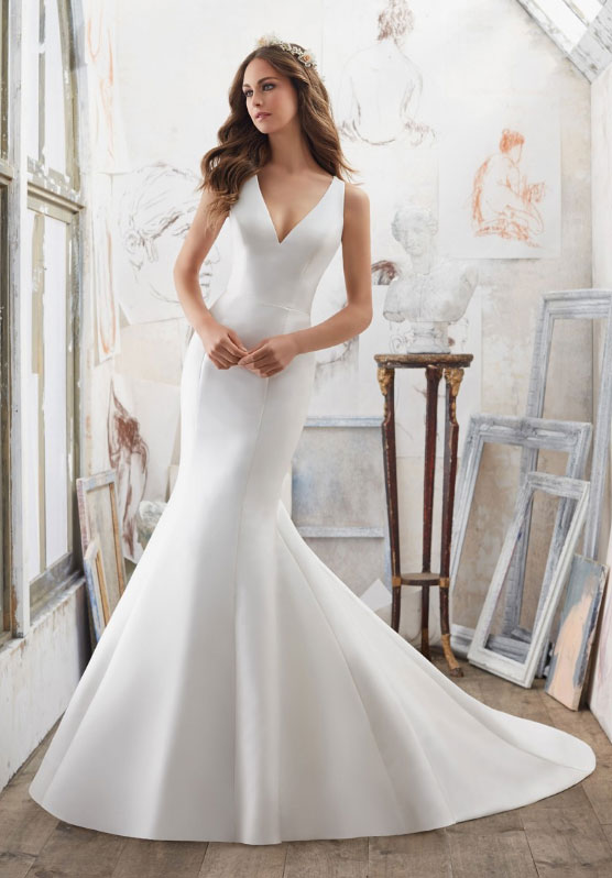 mori lee trumpet wedding gown