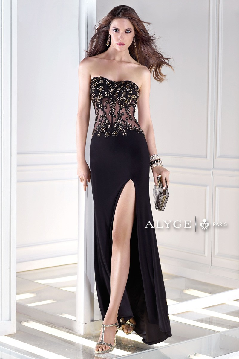Alyce B Dazzle 35675 Sheer Midriff Cutout Back Front Madamebridal