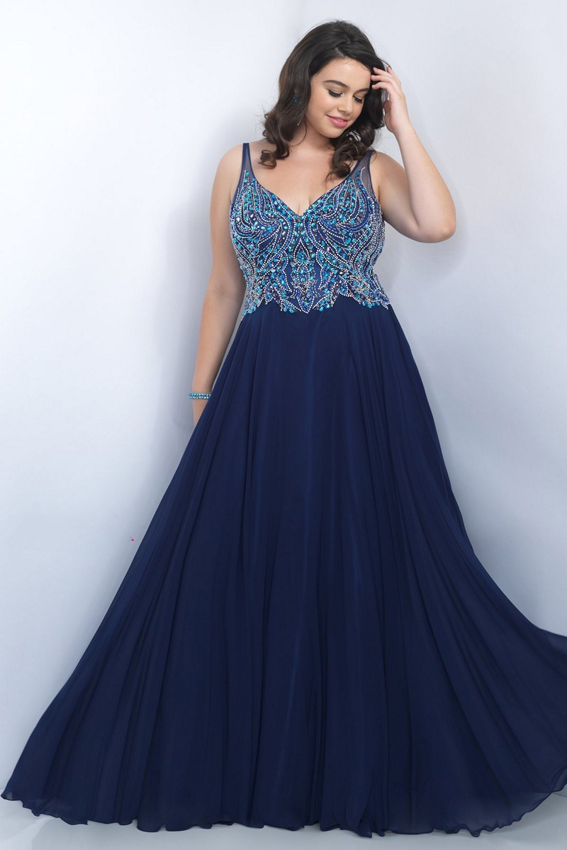 Blush Plus Size 11058w V Neckline Prom Dress