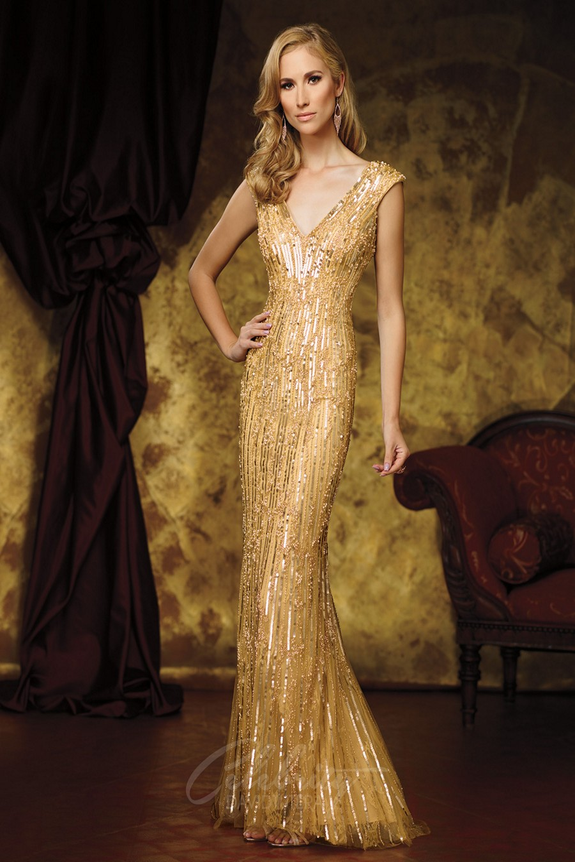 Celebrity David Tutera DT11609 Sequined Sheath Dress | MadameBridal.com