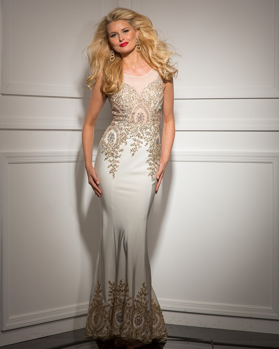 Clarisse couture 4502 sleeveless sheer neckline golden for Wholesale wedding dresses dallas tx