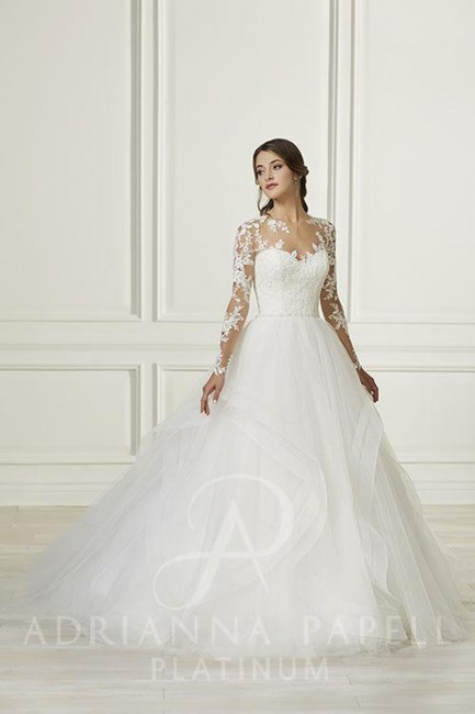 Adrianna Papell 31107 Illusion Long Sleeve Wedding Dress