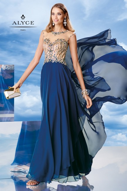 Alyce 6463 A-Line Dress Illusion Bodice Cap Sleeve Jewel Neckline
