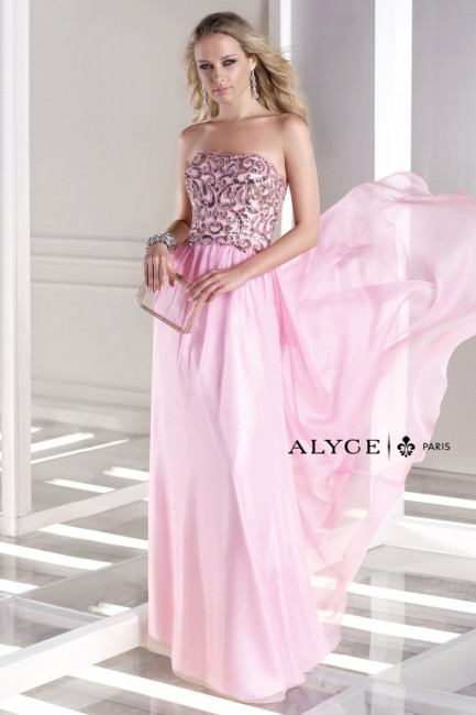 Alyce B Dazzle 35681 Strapless Beaded Top Semi-Open Back