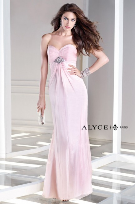 Alyce B Dazzle 35709 Strapless Ruched Bust Empire Silhouette