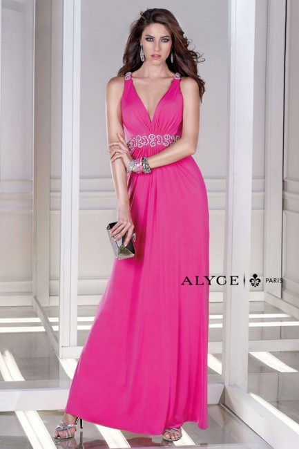 Alyce B Dazzle 35717 V-Neck A-line Silhouette Exposed Back