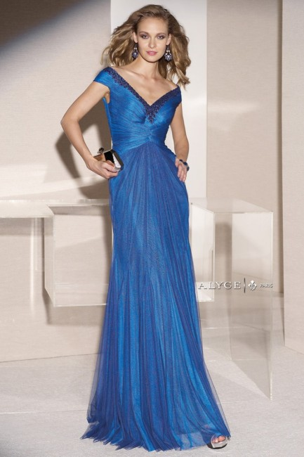 Jean De Lys 29735 Off-The-Shoulder Scoop Back Ruched Bodice