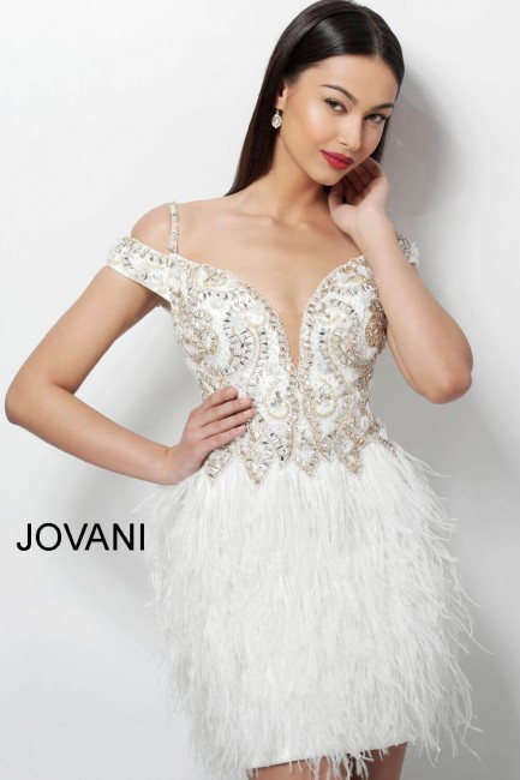 Jovani 62381 Feather Skirt Short Dress