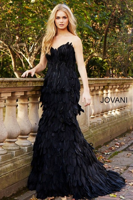 9a95b446c6f1 Jovani Couture 61727 Feather Evening Gown Dress - MadameBridal.com