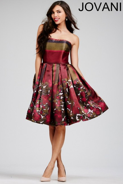 Jovani M429 Dress Straight Strapless Pleated Skirt Side Pockets