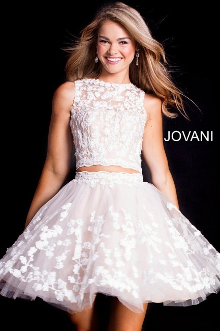 Jovani 46800 Embroidered 2 Piece Short Party Dress