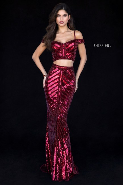 Sherri Hill 51934 Cold-Shoulder 2 Piece Prom Dress