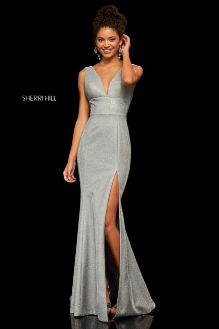 Sherri Hill 52480 Plunging V-Neck Glitter Formal Gown