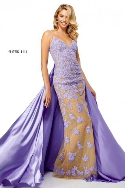 Sherri Hill 52538 Lace Prom Dress with Overskirt