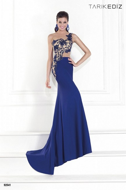Tarik Ediz 92541 Illusion One-Shoulder And Back Fit And Flare