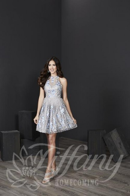 Tiffany 27233 Embroidered Short Dress