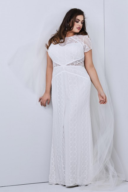 WTOO 17120B Lenora Short Sleeve Plus Size Bridal Gown