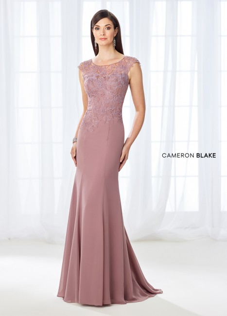 Cameron Blake 118667 Cap-Sleeve Evening Gown