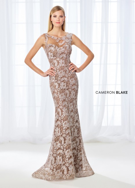 Cameron Blake 118671 Lace Formal Dress with Detachable Sleeves