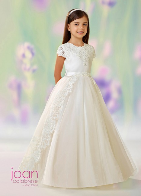 e30ce2543 Joan Calabrese 118330 First Communion Dress with Detachable Overskirt |  MadameBridal.com