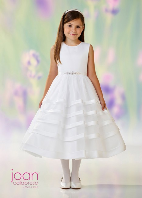 25d0039666aa3 Joan Calabrese 118334 Stripe Skirt First Communion Dress | MadameBridal.com