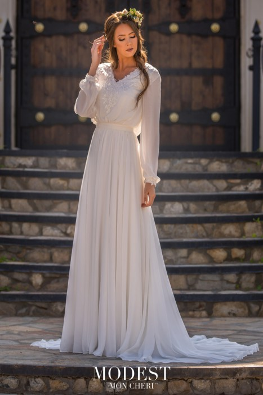 65e63d79a4428 Modest Bridal by Mon Cheri TR11977 Dress - MadameBridal.com