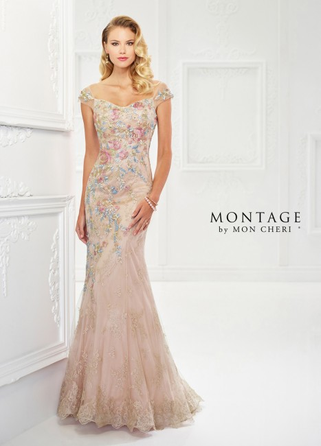 Montage by Mon Cheri 118966 Cap-Sleeve Evening Gown