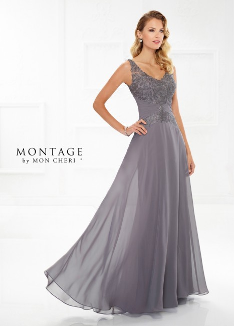 Montage by Mon Cheri 118976 V-Neck Formal Gown with Detachable Sleeves