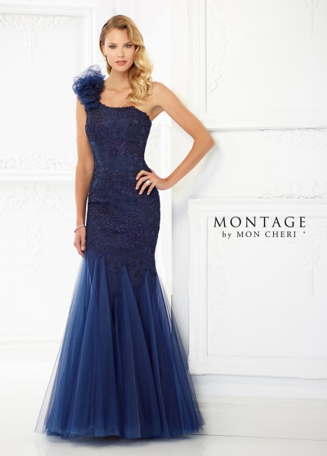 Montage by Mon Cheri 118986 One-Shoulder Mother of Bride Gown
