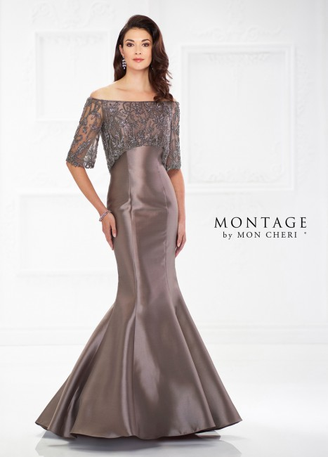 Montage by Mon Cheri 118987 Off-The-Shoulder Mother of Bride Gown
