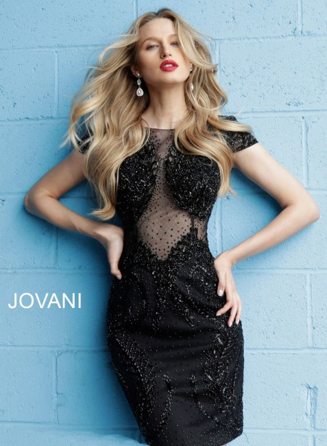 Jovani 57631 Sheer Back Beaded Short Dress