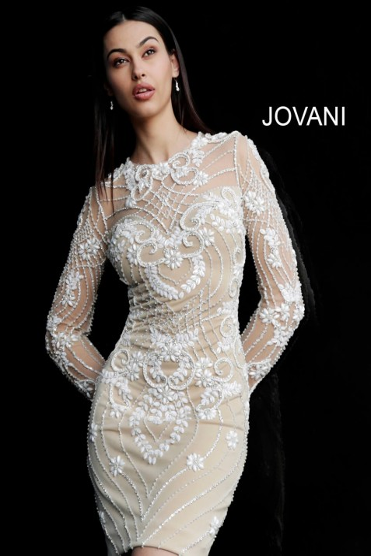 Jovani 57877 Long Sleeve Beaded Short Party Dress