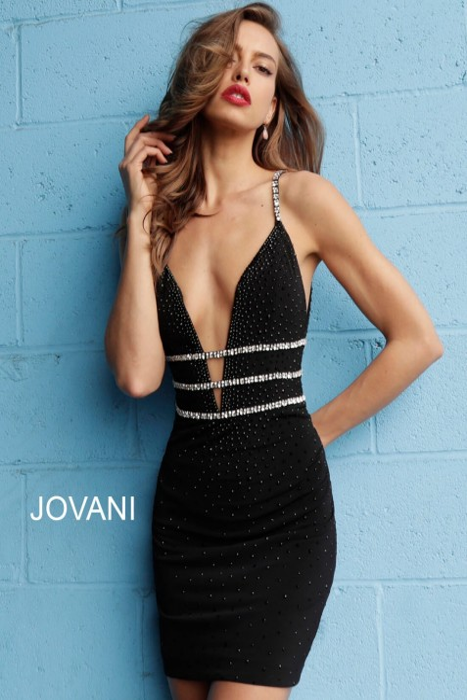 Jovani 61882 Plunging Neckline Short Party Dress