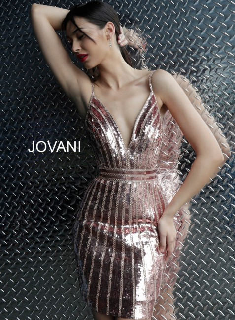 Jovani 62478 Spaghetti Strap Sequin Cocktail Dress