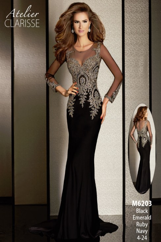 Atelier Clarisse M6203 Dress Sheer Neckline Beaded Bodice Long Sleeve