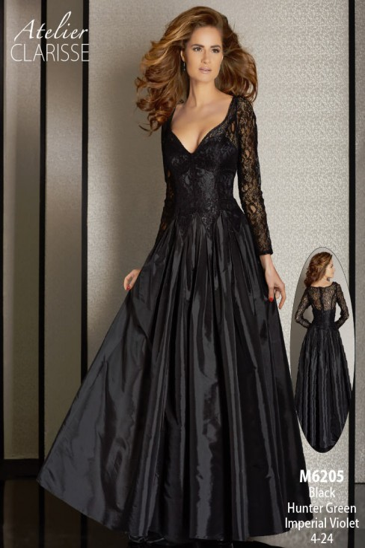Atelier Clarisse M6205 Dress V-Neck Lace Bodice Gathered Skirt
