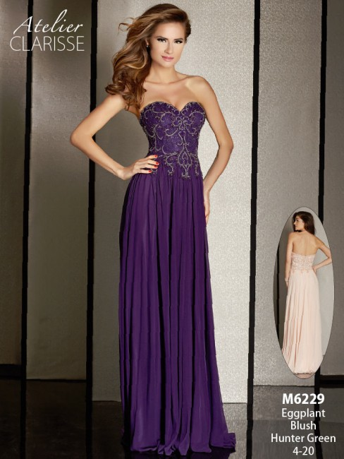 Atelier Clarisse M6229 Dress Strapless Sweetheart Bust Bejeweled Bodice